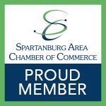 Spartanburg Area Chamber of Commerce membership badge.