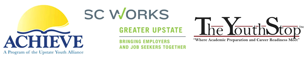 Logos for Upstate WIB programs; Achieve, SC Works and The Youth Stop